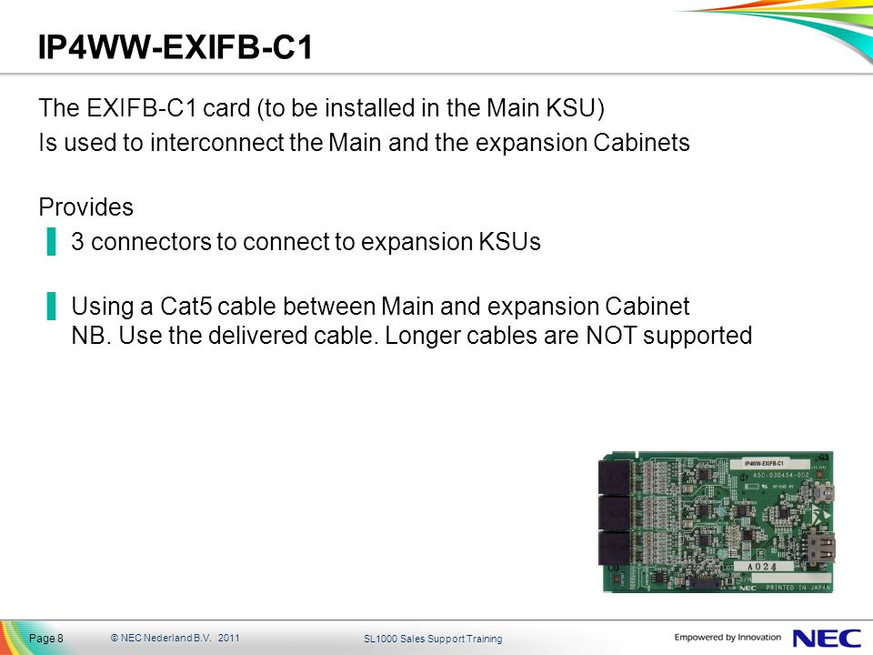 IP4WW-EXIFB-C1 The EXIFB-C1 card (to be installed in the Main KSU)
