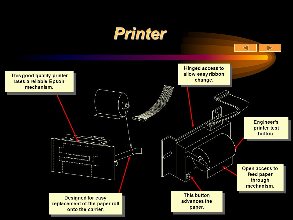 Printer Hinged access to allow easy ribbon change.
