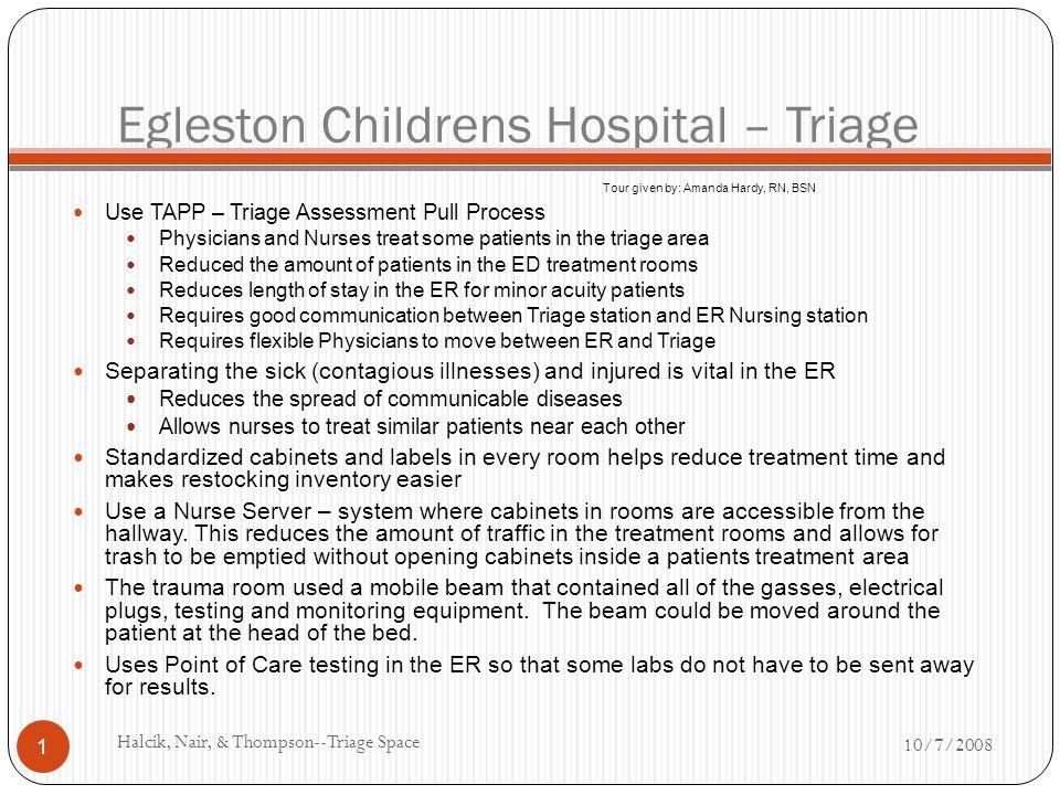 Egleston Childrens Hospital – Triage