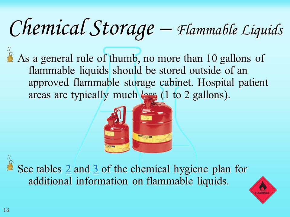 Chemical Storage – Flammable Liquids