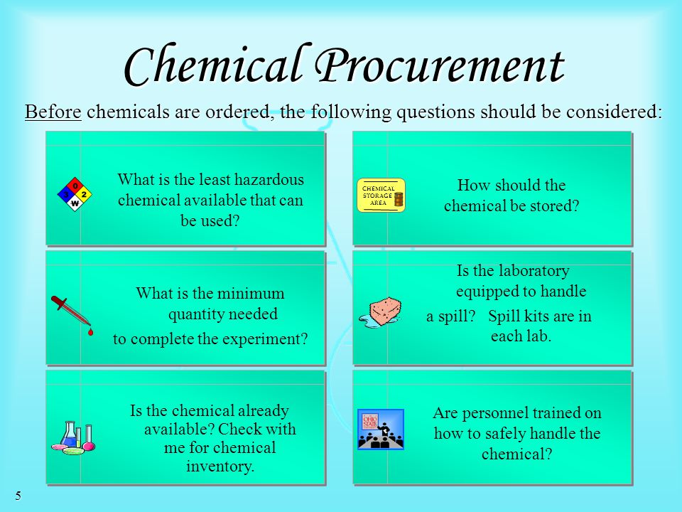 Chemical Procurement Before chemicals are ordered, the following questions should be considered: