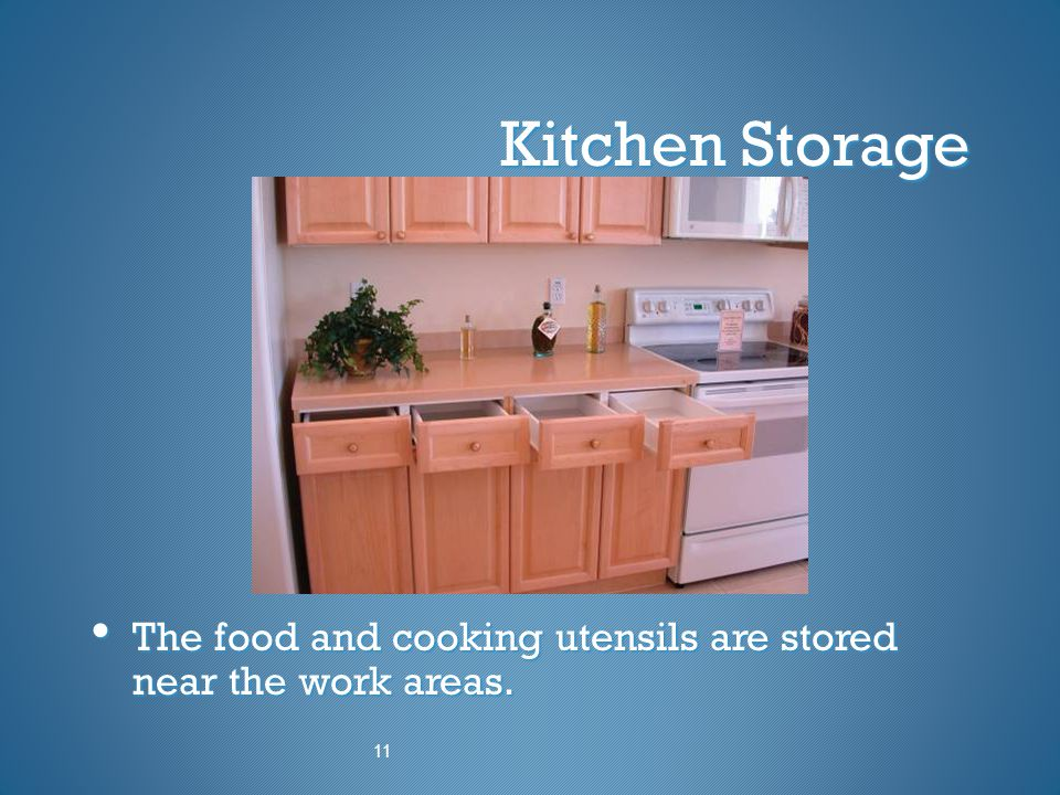 Kitchen Storage The food and cooking utensils are stored near the work areas. 11