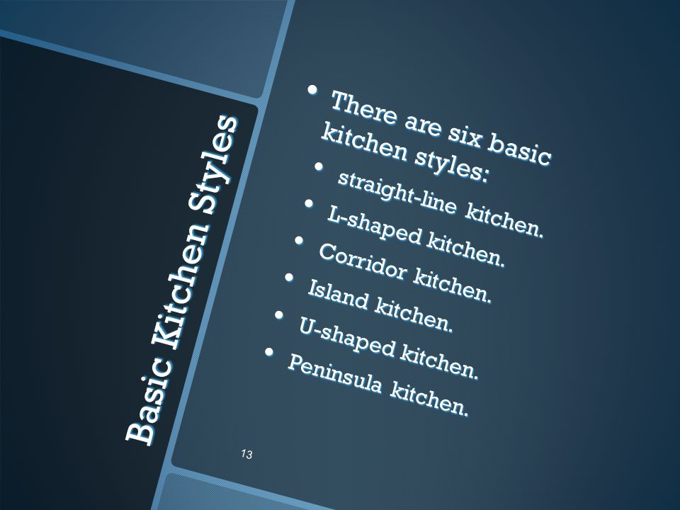 Basic Kitchen Styles There are six basic kitchen styles: