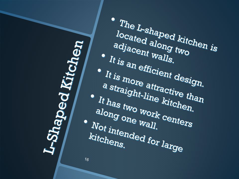 The L-shaped kitchen is located along two adjacent walls.