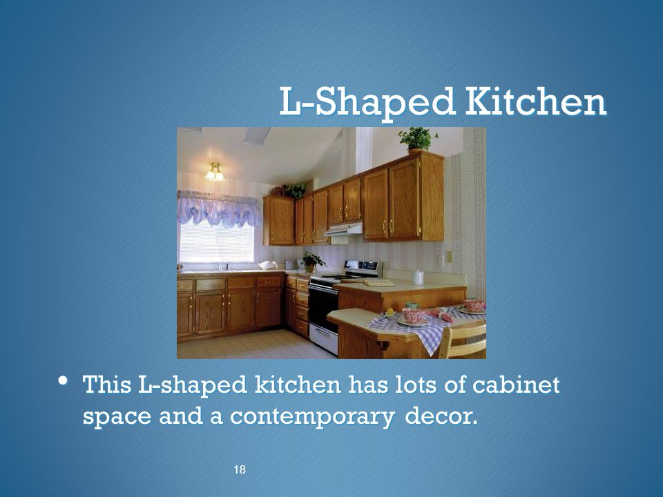L-Shaped Kitchen This L-shaped kitchen has lots of cabinet space and a contemporary decor. 18