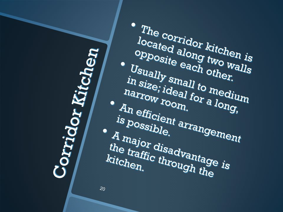 The corridor kitchen is located along two walls opposite each other.