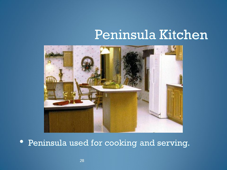 Peninsula Kitchen Peninsula used for cooking and serving. 28