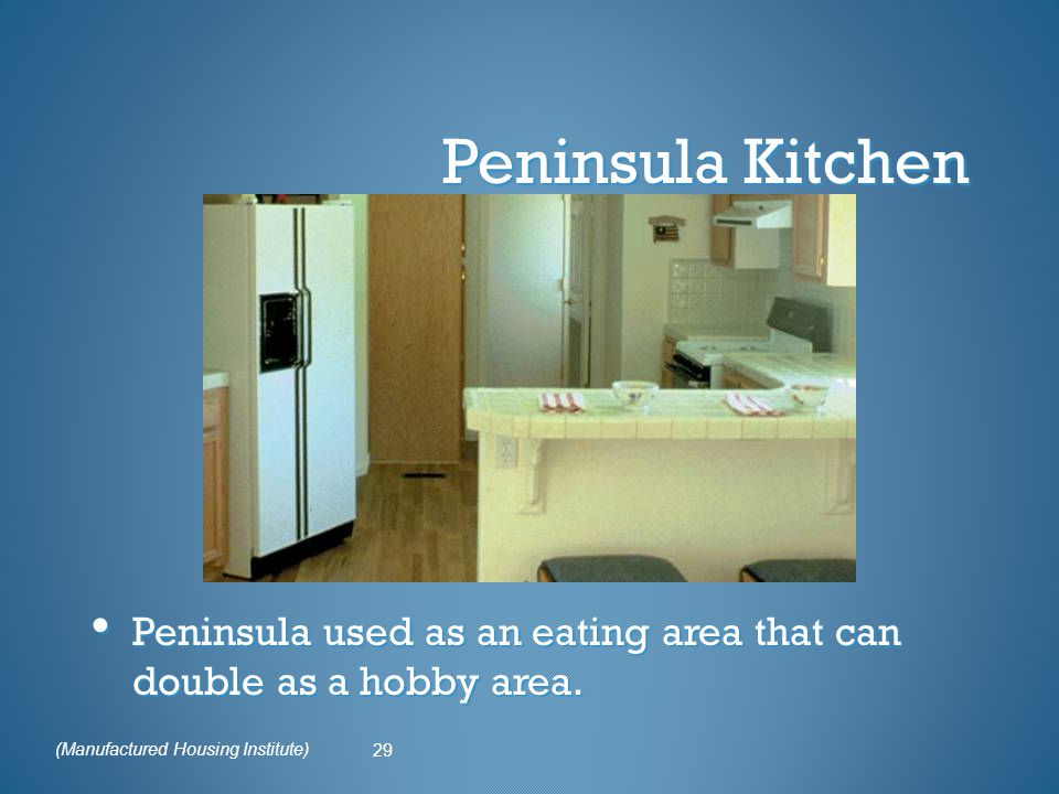 Peninsula Kitchen Peninsula used as an eating area that can double as a hobby area.