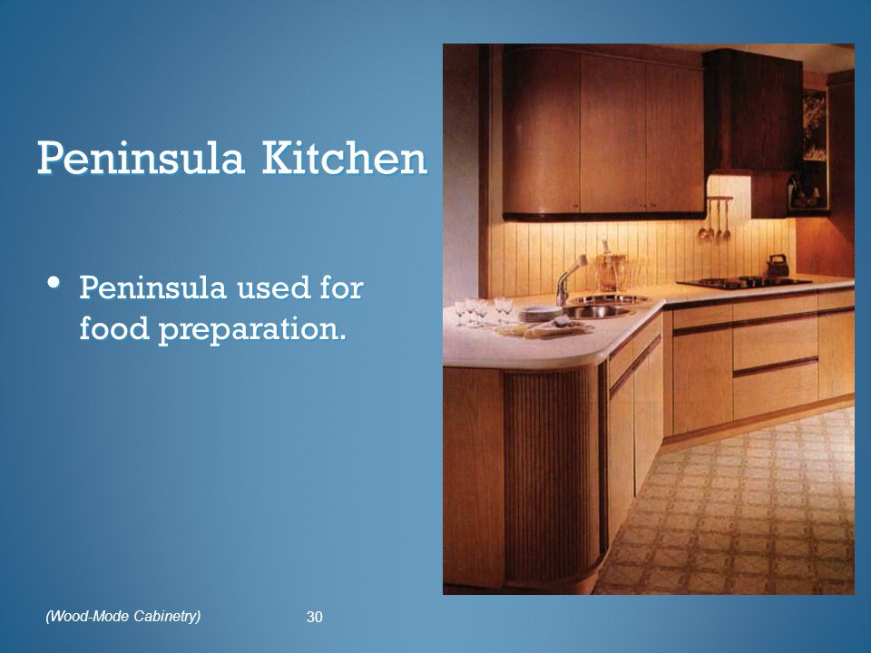 Peninsula Kitchen Peninsula used for food preparation. 30