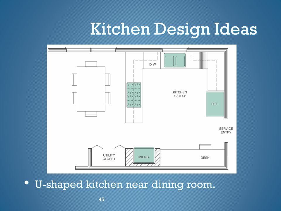 Kitchen Design Ideas U-shaped kitchen near dining room. 45