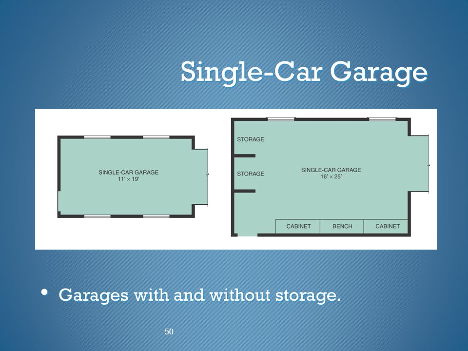 Single-Car Garage Garages with and without storage. 50