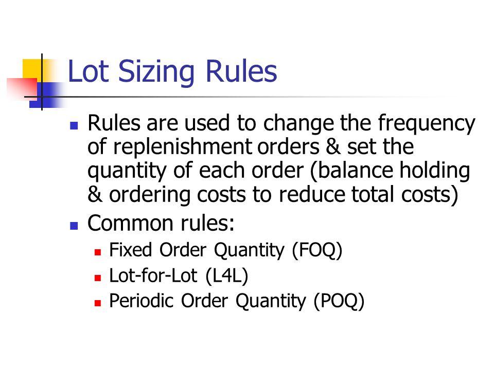Lot Sizing Rules