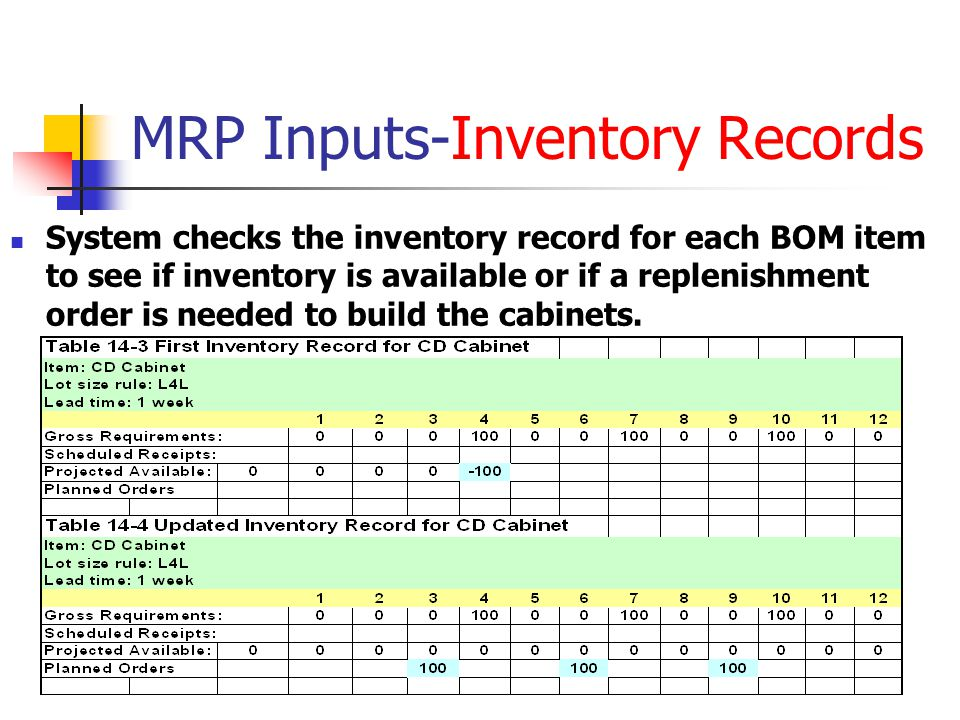 MRP Inputs-Inventory Records