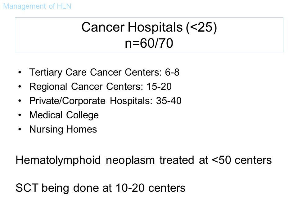 Cancer Hospitals (<25) n=60/70