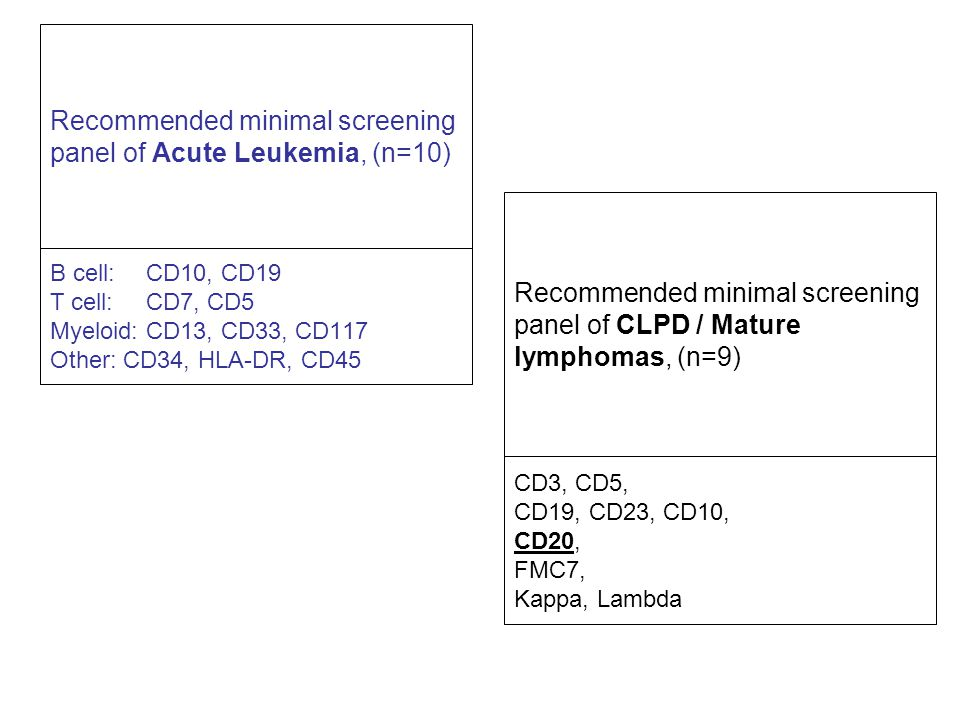 Recommended minimal screening panel of Acute Leukemia, (n=10)