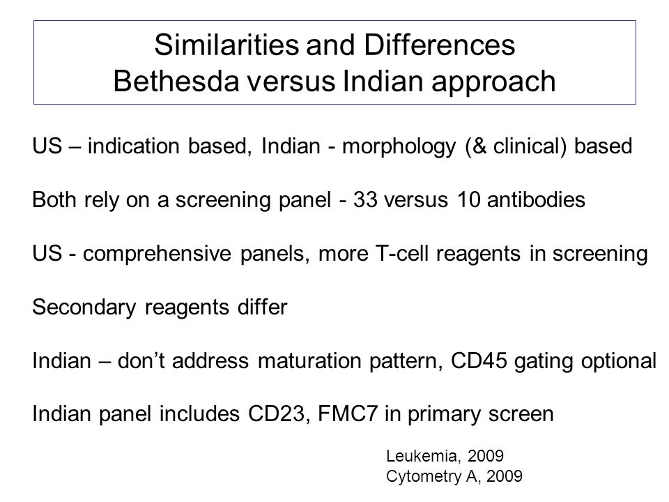 Similarities and Differences Bethesda versus Indian approach