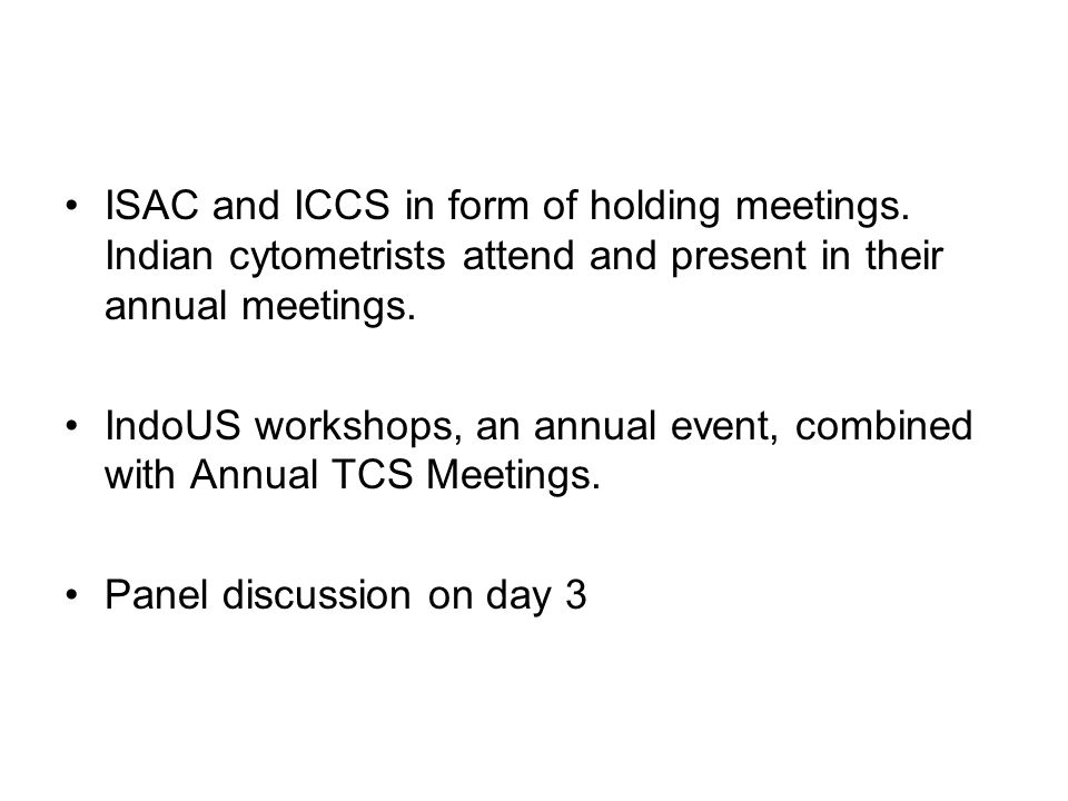 ISAC and ICCS in form of holding meetings