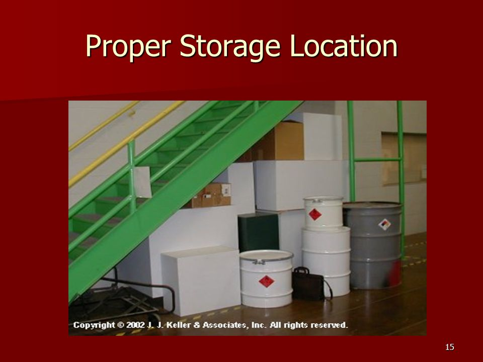 Proper Storage Location