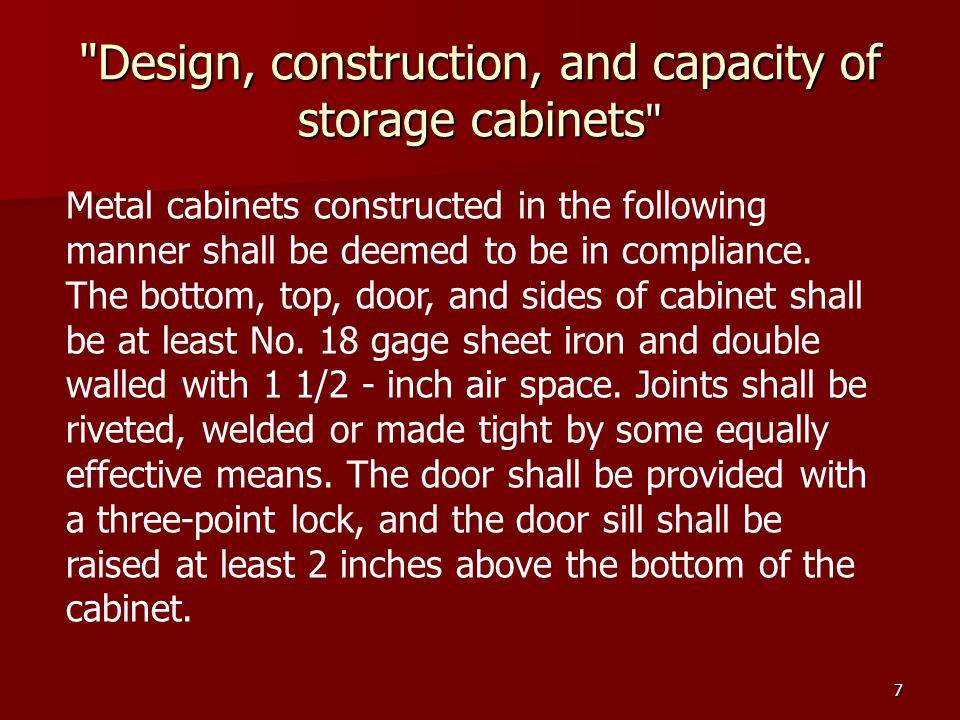 Design, construction, and capacity of storage cabinets