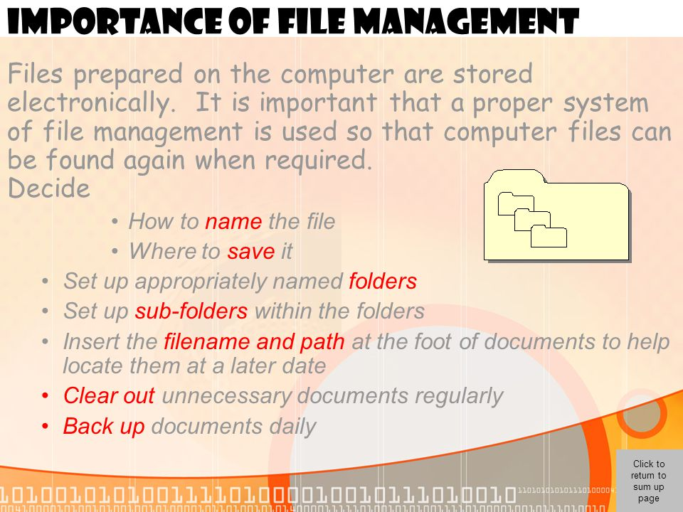 IMPORTANCE OF FILE MANAGEMENT