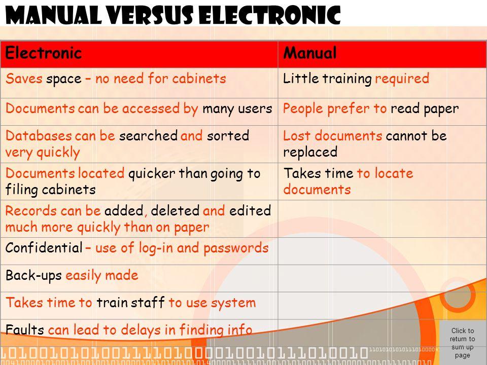 MANUAL VERSUS ELECTRONIC