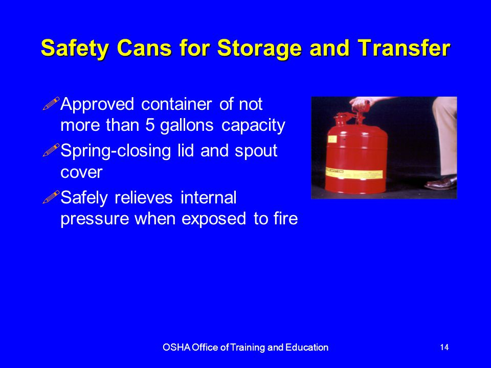 Safety Cans for Storage and Transfer