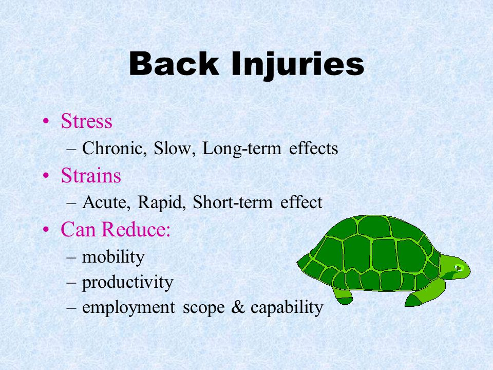 Back Injuries Stress Strains Can Reduce: