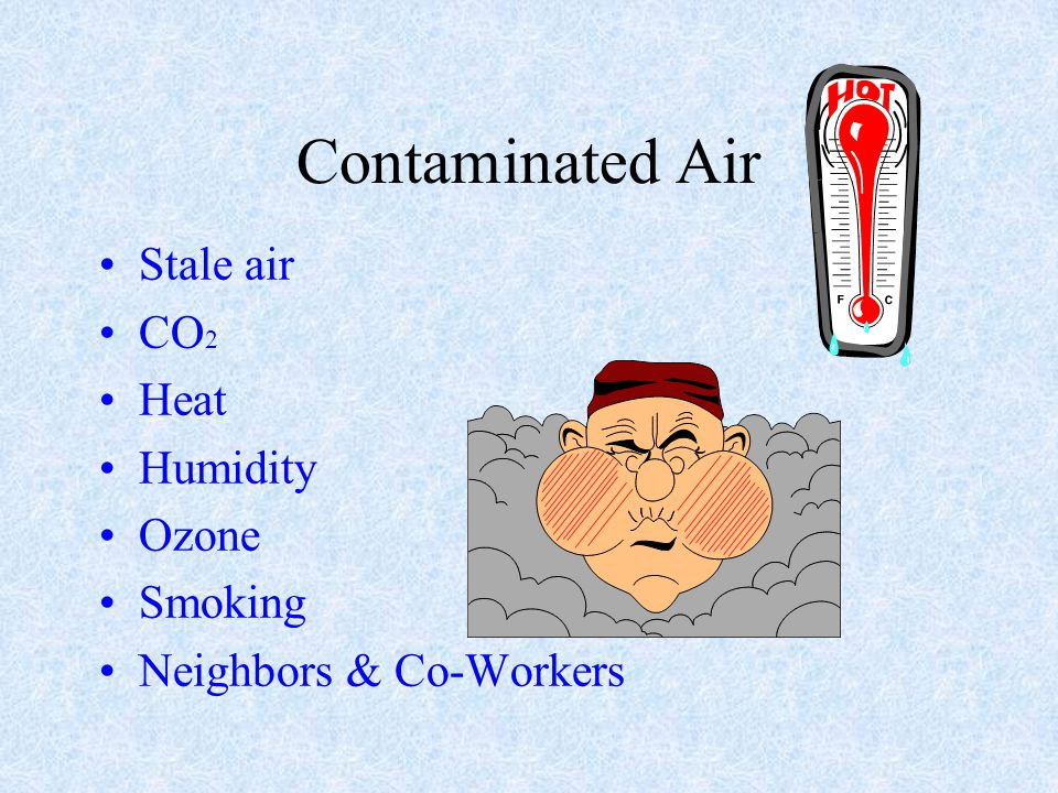 Contaminated Air Stale air CO2 Heat Humidity Ozone Smoking