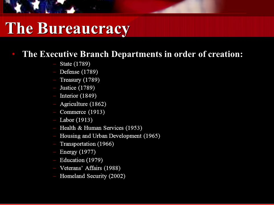 The Bureaucracy The Executive Branch Departments in order of creation: