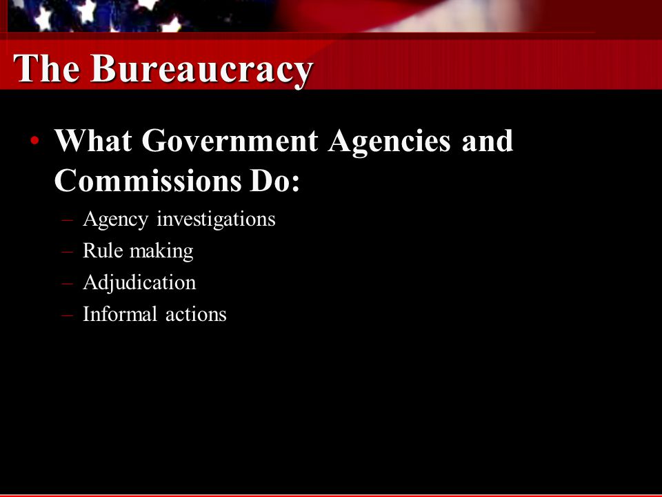 The Bureaucracy What Government Agencies and Commissions Do:
