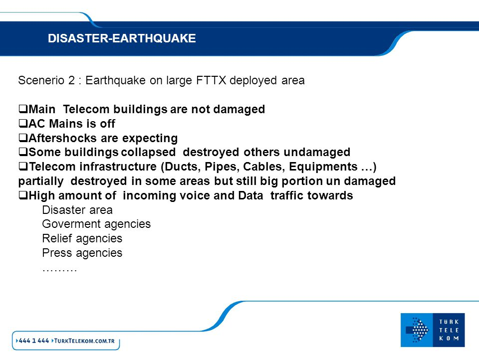 DISASTER-EARTHQUAKE Scenerio 2 : Earthquake on large FTTX deployed area. Main Telecom buildings are not damaged.