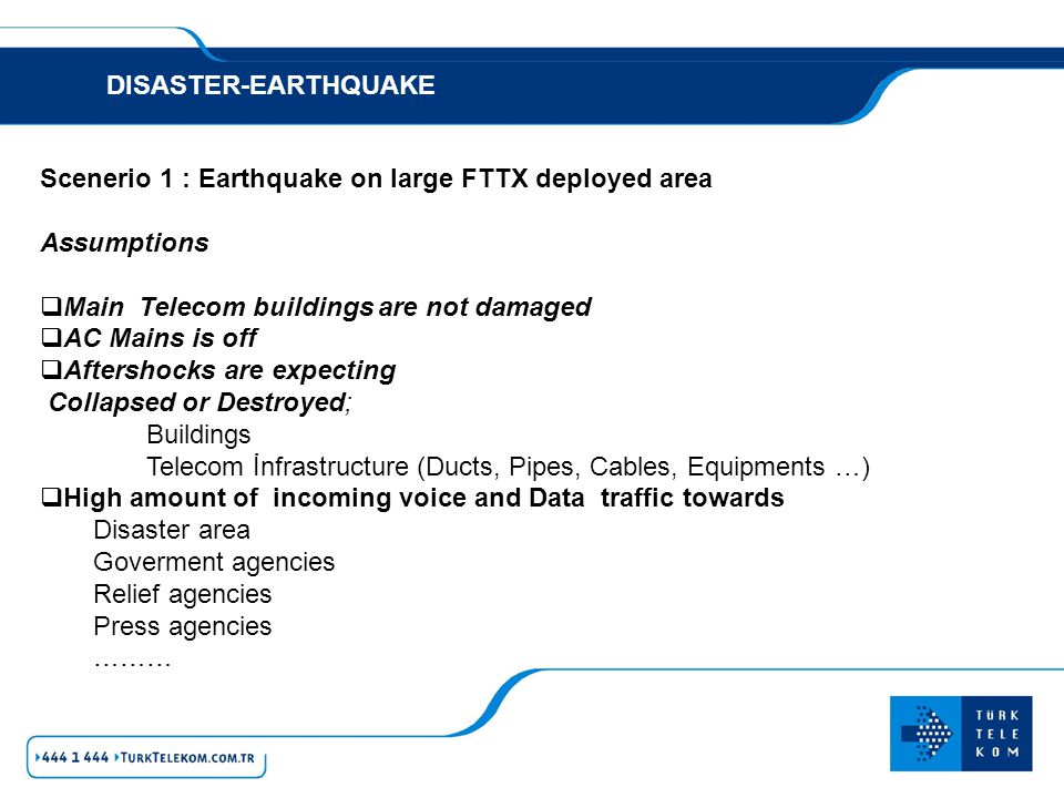 DISASTER-EARTHQUAKE Scenerio 1 : Earthquake on large FTTX deployed area. Assumptions. Main Telecom buildings are not damaged.
