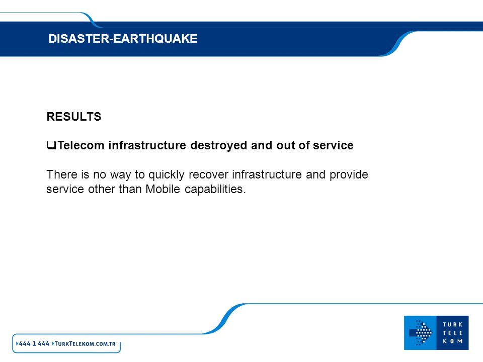 DISASTER-EARTHQUAKE RESULTS. Telecom infrastructure destroyed and out of service.