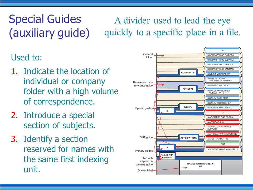 Special Guides (auxiliary guide)
