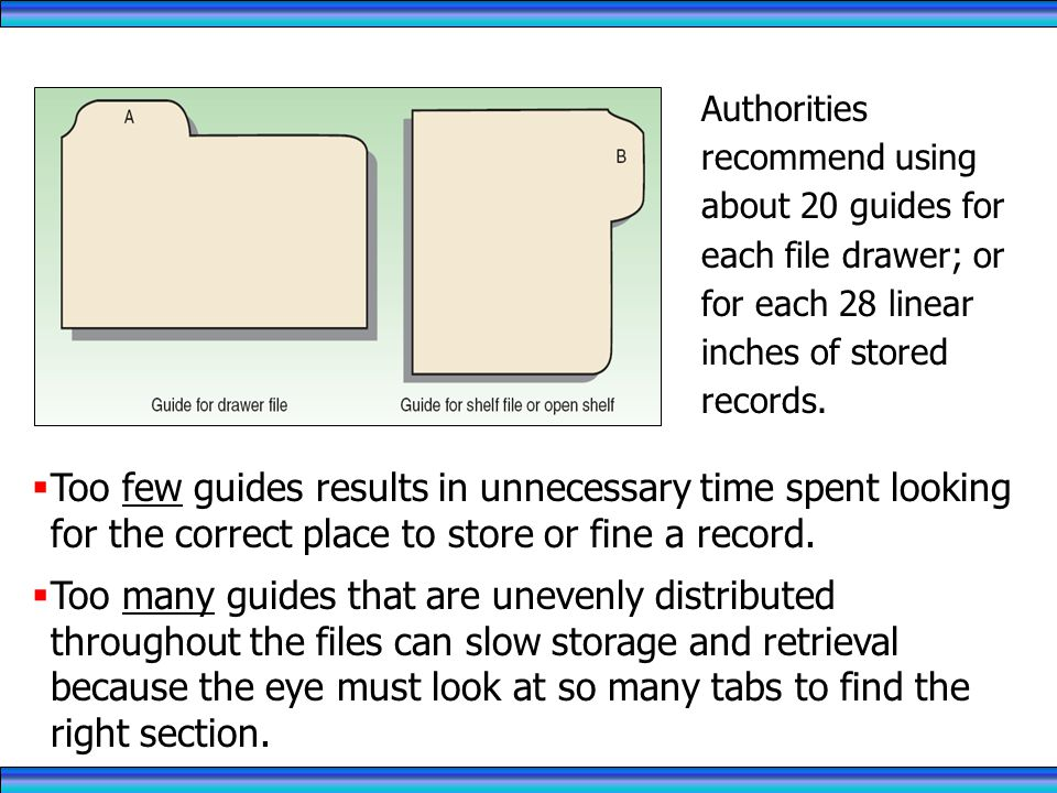 RECORDS MANAGEMENT 4/1/2017. Authorities recommend using about 20 guides for each file drawer; or for each 28 linear inches of stored records.