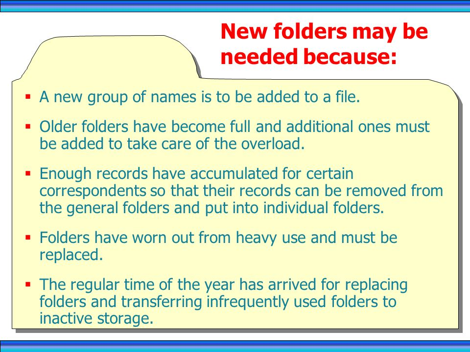 New folders may be needed because: