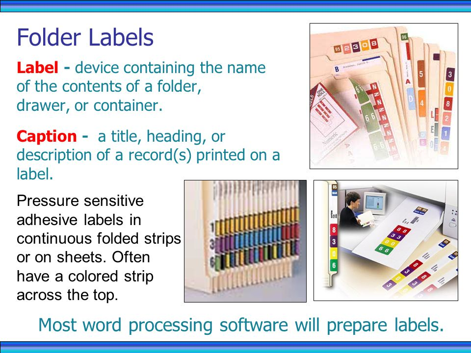 Most word processing software will prepare labels.