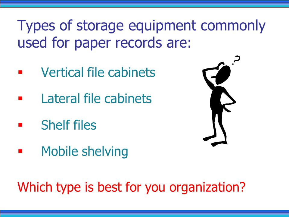 Types of storage equipment commonly used for paper records are: