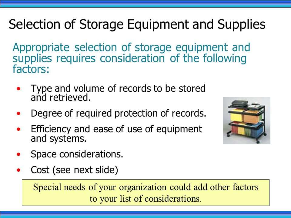 Selection of Storage Equipment and Supplies