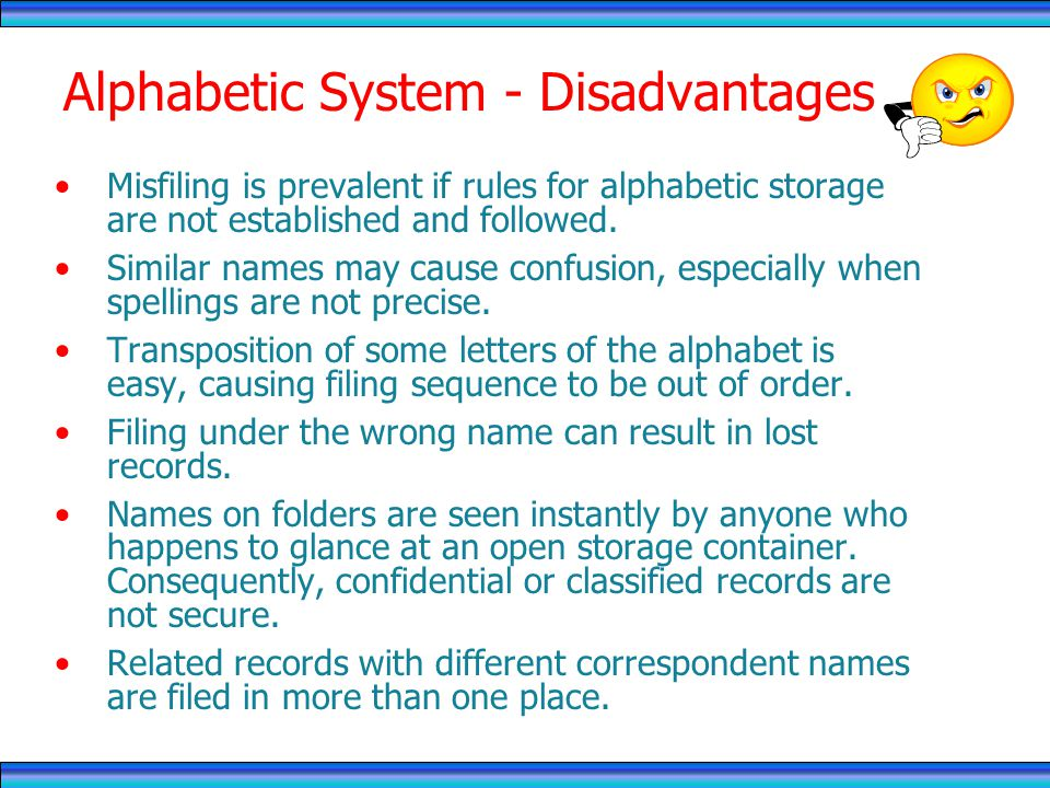 Alphabetic System - Disadvantages