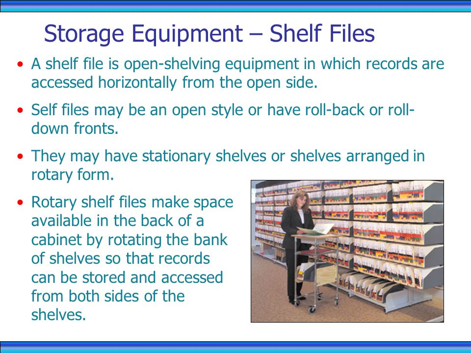 Storage Equipment – Shelf Files