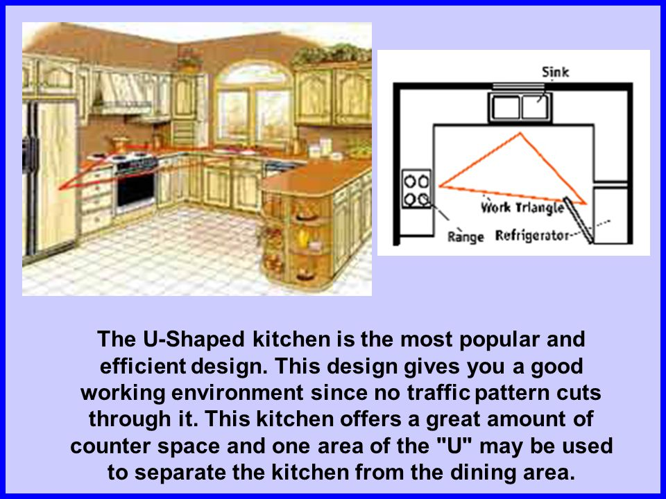 The U-Shaped kitchen is the most popular and efficient design