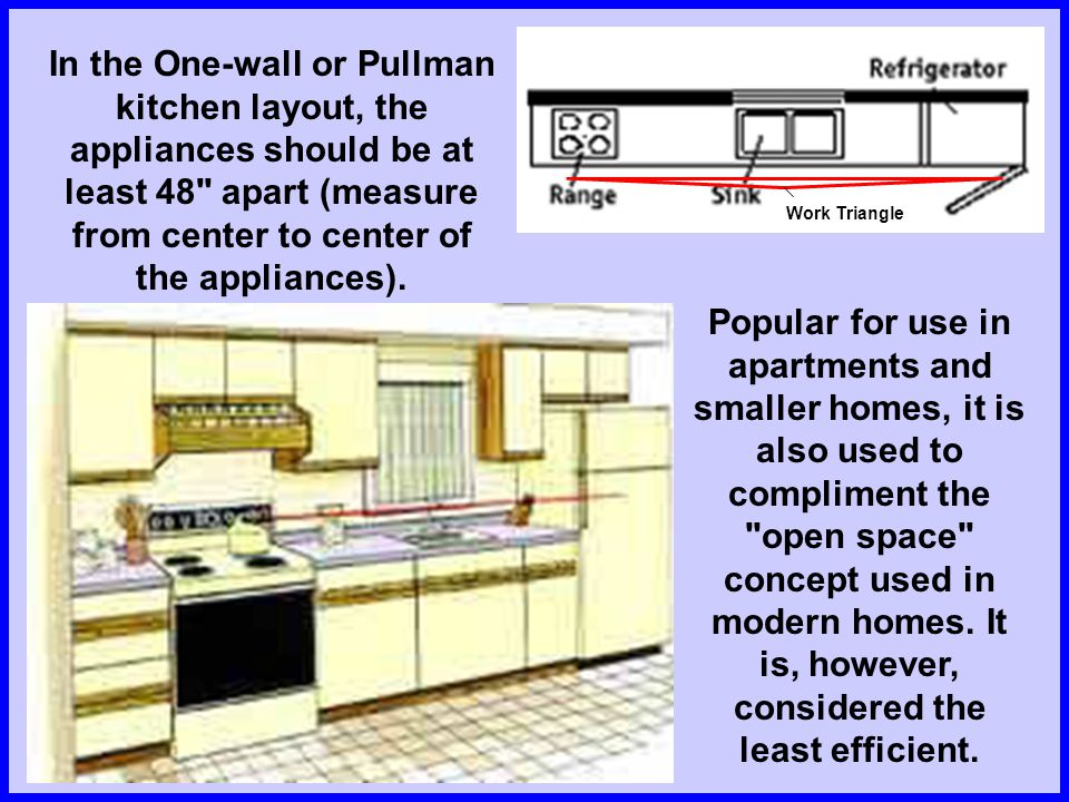 In the One-wall or Pullman kitchen layout, the appliances should be at least 48 apart (measure from center to center of the appliances).