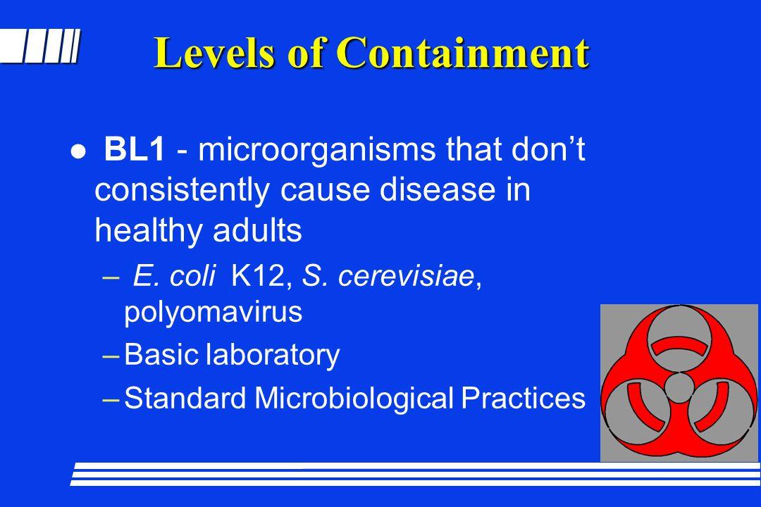 Levels of Containment BL1 - microorganisms that don't consistently cause disease in healthy adults.