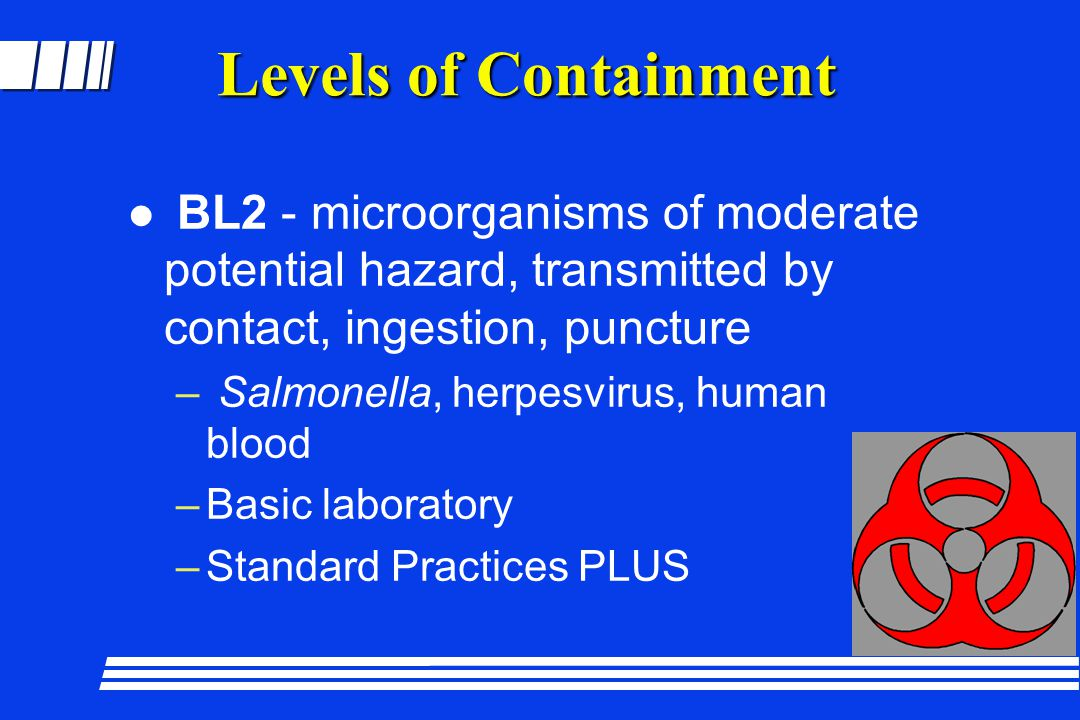 Levels of Containment BL2 - microorganisms of moderate potential hazard, transmitted by contact, ingestion, puncture.