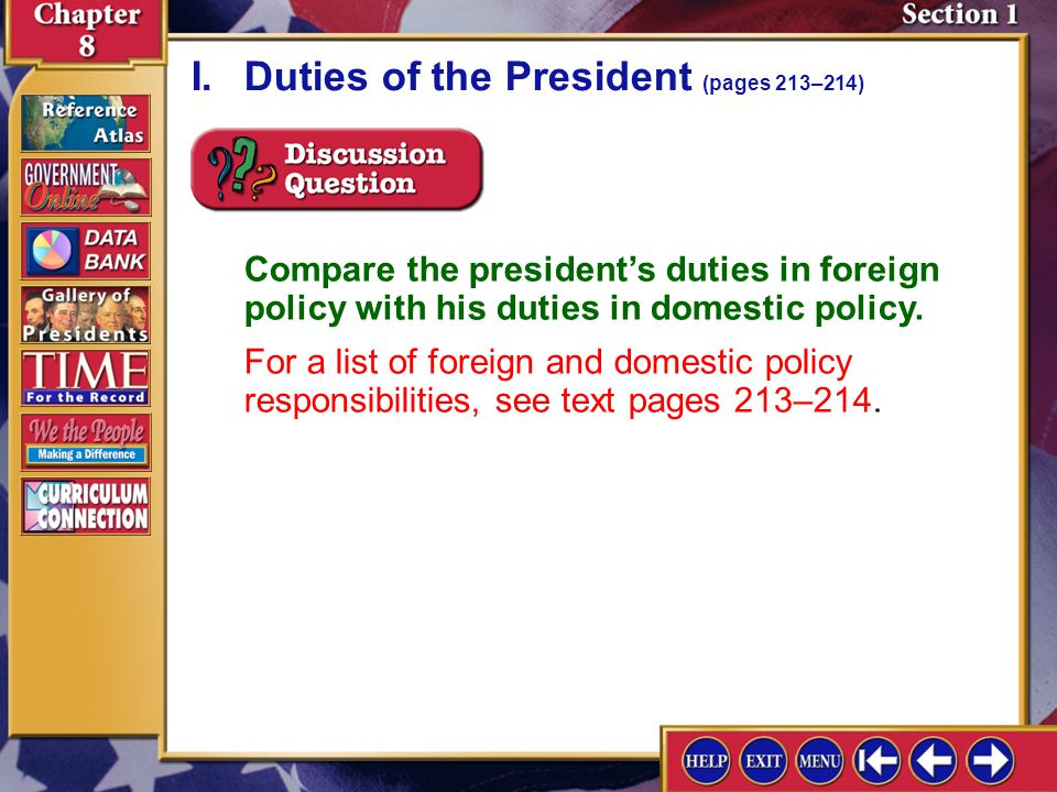 I. Duties of the President (pages 213–214)