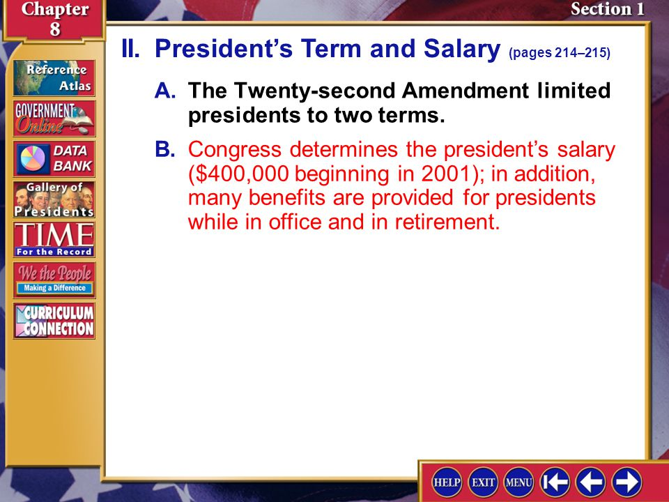II. President's Term and Salary (pages 214–215)