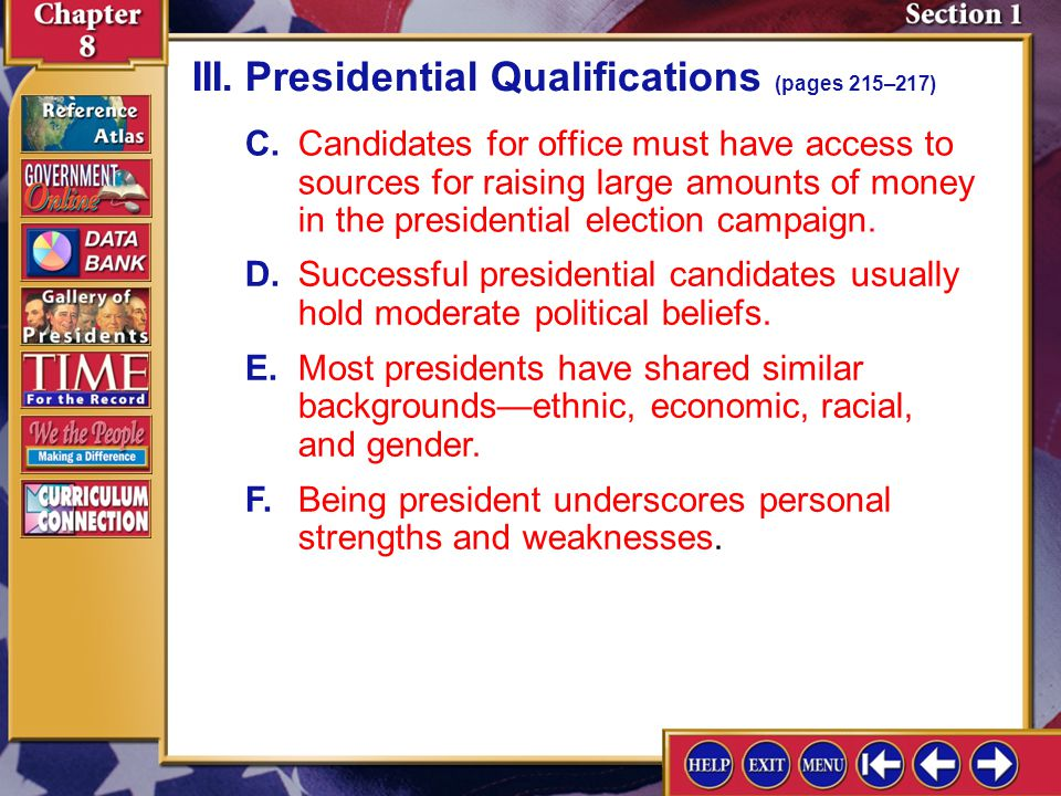 III. Presidential Qualifications (pages 215–217)