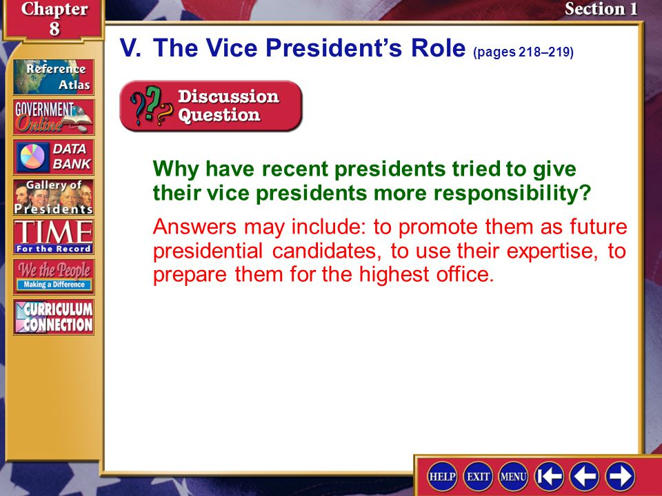 V. The Vice President's Role (pages 218–219)