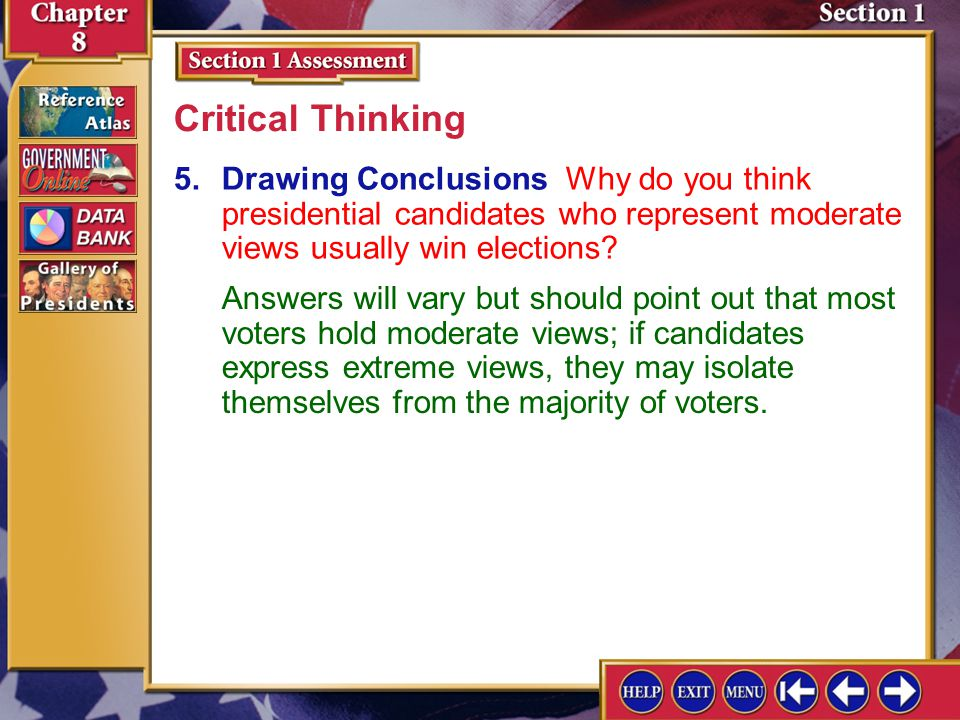 Critical Thinking 5. Drawing Conclusions Why do you think presidential candidates who represent moderate views usually win elections